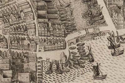 Nieuwe brug| Pieter Bast, Plattegrond van Amsterdam (detail), 1597 | © Stadsarchief Amsterdam