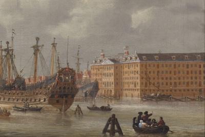 Reinier Zeeman | Gezicht op het IJ met 's Lands Zeemagazijn (detail) | Het Scheepvaartmuseum