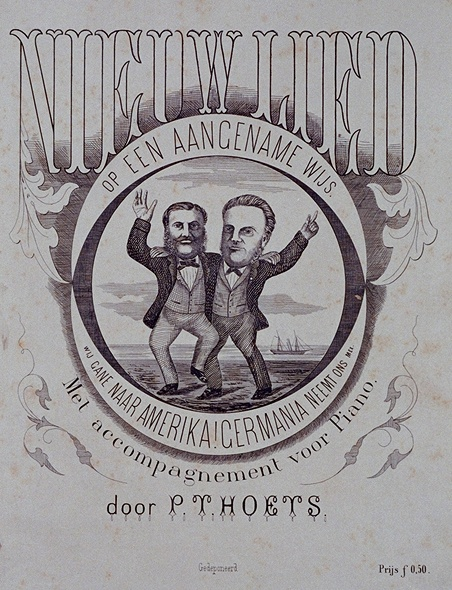 Geïllustreerde omslag van een lied, met portret van L. Pincoffs en H.P. Kerdijk.